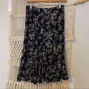 LAURA PETITE floral midi skirt, black